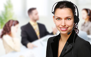 Customer support operator woman smiling at an office