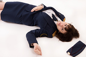 Woman officer lying on a floor
